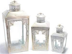Trio de lanterne blanche vieillit or